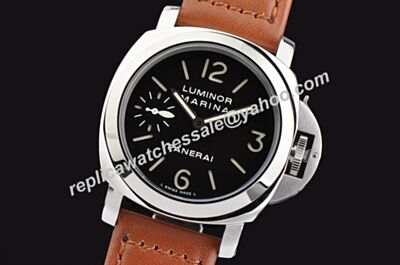 Panerai Luminor Marina Stainless Steel Automatic Leather Men's Brown Watch