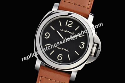 Panerai 44mm Luminor Base 18kt White Gold Bezel Leather Band Duplic Watch