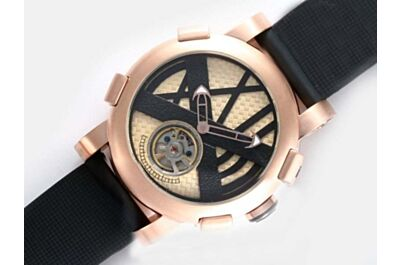 Romain Jerome Titanic-DNA Tourbillon 18k Rose Gold Automatic Black Strap Watch