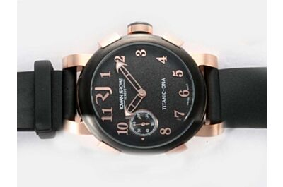 Rep Romain Jerome Titanic DNA 46mm Rose Gold Case Black Bezel Skeleton Hand Watch