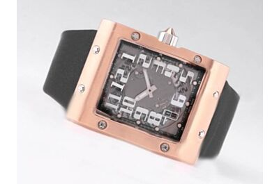 Richard Mille Ref RM 016 Rose Gold Black Leather Band Auto Watch