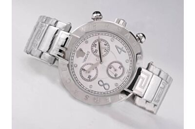 Versace Montre Reve Chrono 40mm Bracelet Acier Q5C99D498 S099 White Gold Watch Fake
