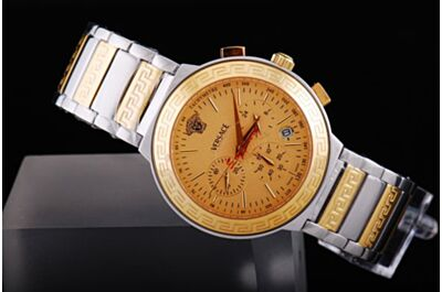 Mens Versace Dv One Chronometer Gold 24Hours 2-Tone Steel Faux Watch