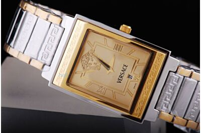 Fake Women's Versace Date Quartz Rectangle Yellow Gold 2-Toen Band Watch