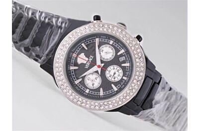 Versace Chronometer Diamond 24 Hours Quartz Lady Date Black Bracelet Watch