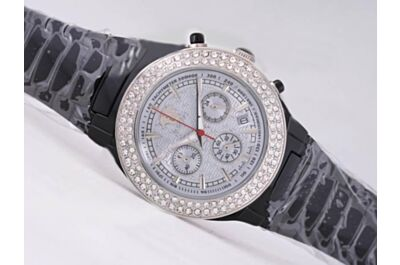 Versace Ladies Chrono Diamond Bezel Black Ceramic 24 Hours Date  Replicated Watch