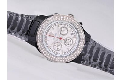 Versace Double Diamond Bezel Chronograph White 24 Hours Quartz Date Watch