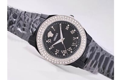Versace Black Dial Women's Diamonds Bezel No Date Quartz Watch