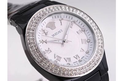 Replica Versace Dual Circles Diamonds Lady Black Ceramic Bracelet White Watch