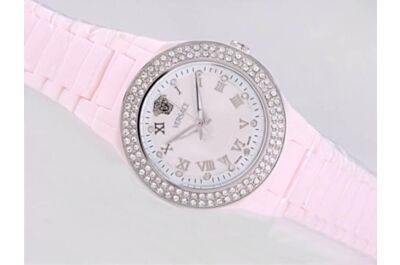 Versace Quartz 44mm MOP Ladies PINK Ceramic 1ct Diamond Watch