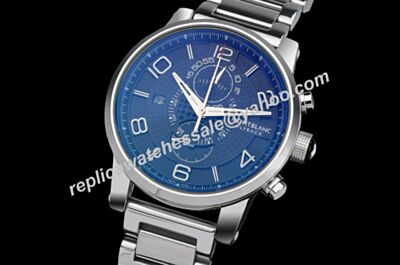 Montblanc U0104286 Flyback Chronograph TwinFly Royal Blue 43mm Silver Bracelet Watch WBL005