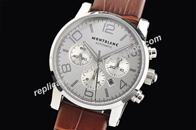 Montblanc Timewalker Silver  Chronograph Mens U101549 Date  Luminous Swiss Watch WBL019
