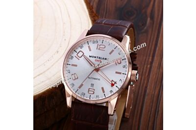 UK Montblanc GMT Timewalker Rose Gold Date Automatic 24 Hours Swiss Movement Watch WBL024
