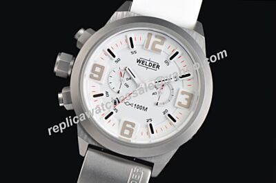 Welder K31 2603 Men's Quartz Chronograph White Strap Date Watch