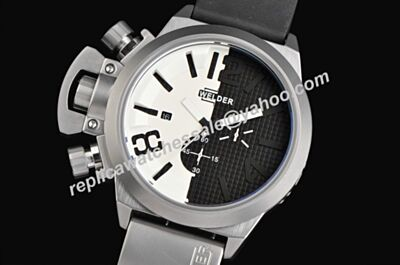 Welder K24-3308 Chronograph Rubber Strap Date White-Black Quartz Rep Watch