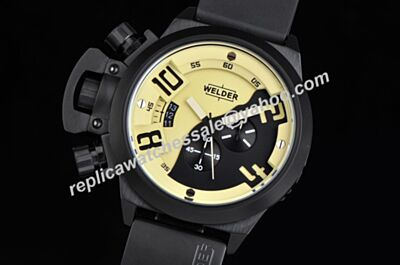 Welder K24-3305 Chronometer Black PVD Steel Quartz Yellow-Black Watch