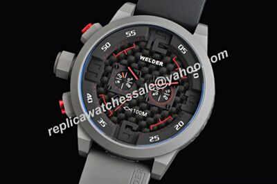 Welder K31 Titanium steel Gents Carbon Black Red Hand Fake Watch