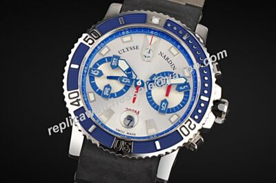 Swiss Ulysse Nardin Diver Chronometer 8003-102-7/91 Blue Bezel Rubber Strap Gents Watch Replica YD001