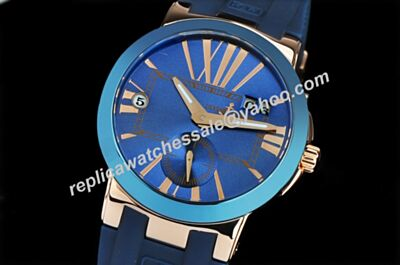 PUlysse Nardin 246-00-3/43 Executive Gents 43mm Blue Strap Dual Time Watch