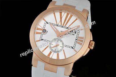 Copy Ulysse Nardin Executive Dual Time Skeleton Hand White Rubber Watch
