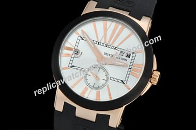 London Ulysse Nardin Executive Skeleton Hand Men's Rose Gold Dual Time Watch