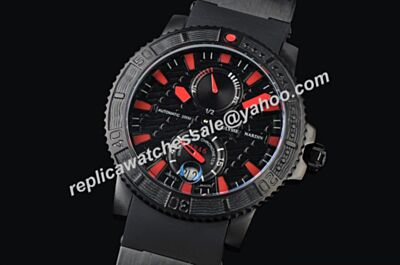 Ulysse Nardin Diver Collection Ref 263-92-3C Titanium Black Red Scale Watch