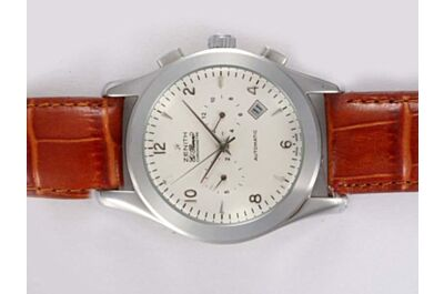 Unisex Cheap Zenith Class Elite 30mm Chronometer Leather Strap Date Watch