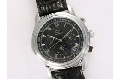 Zenith El Primero Chronomaster 42mm Moonphase Date Auto Black Strap Watch